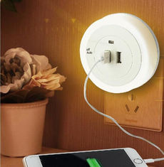 China Soft Light 1 Watt Automatic Sensor Night Lamp With Dual USB Wall Plate Charger supplier